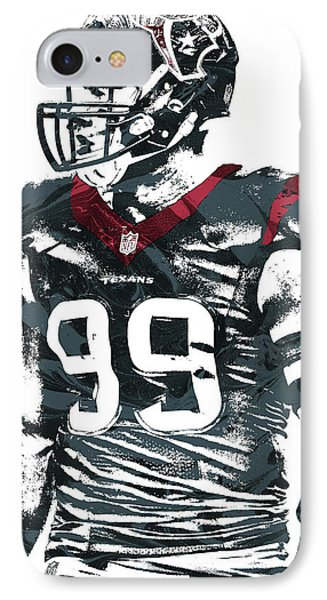 Jj Watt Houston Texans Pixel Art 6 IPhone Case by Joe Hamilton