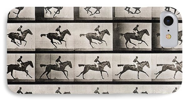 Jockey On A Galloping Horse IPhone Case by Eadweard Muybridge