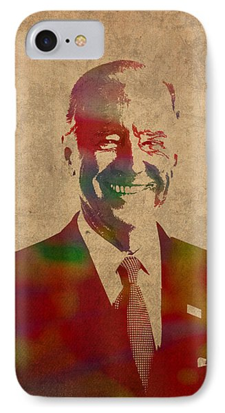 Joe Biden Watercolor Portrait IPhone Case by Design Turnpike