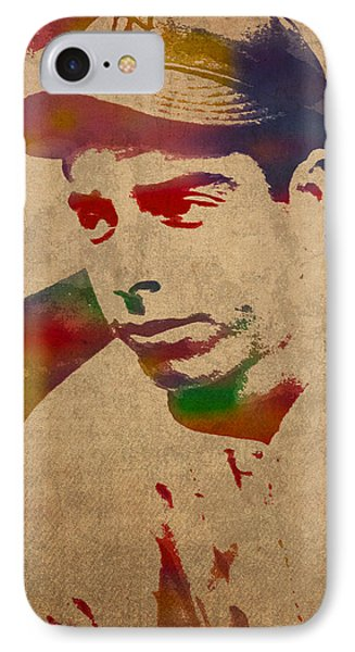 Joe Dimaggio New York Yankees Baseball Player Legend Sports Star Watercolor Portrait On Worn Canvas IPhone Case