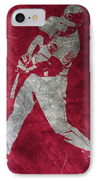 Joey Votto Cincinnati Reds Art IPhone Case by Joe Hamilton