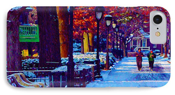 Jogging In The Snow Along Boathouse Row Phone Case by Bill Cannon