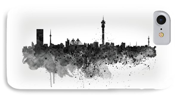 Johannesburg Black And White Skyline IPhone Case by Marian Voicu