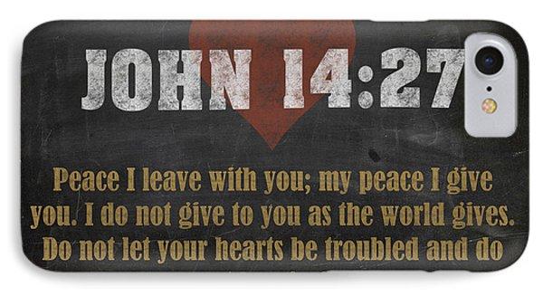 John 14 27 Inspirational Quote Bible Verses On Chalkboard Art IPhone Case