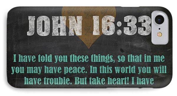 John 16 33 Inspirational Quote Bible Verses On Chalkboard Art IPhone Case
