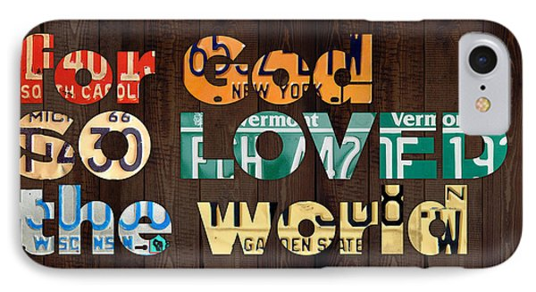 John 3 16 For God So Loved The World Bible Verse Recycled Vintage License Plate Art IPhone Case