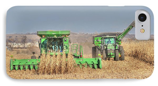 John Deere Combine Picking Corn Followed By Tractor And Grain Cart IPhone Case