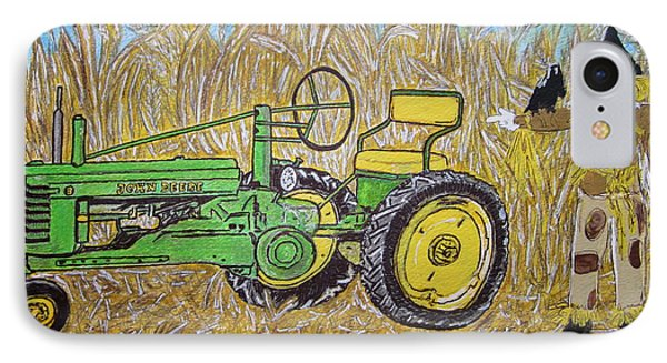 IPhone Case featuring the painting John Deere Tractor And The Scarecrow by Kathy Marrs Chandler