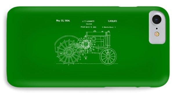 John Deere Tractor Patent Tee IPhone Case by Edward Fielding