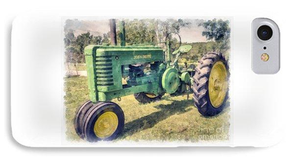 John Deere Vintage Tractor Watercolor IPhone Case by Edward Fielding