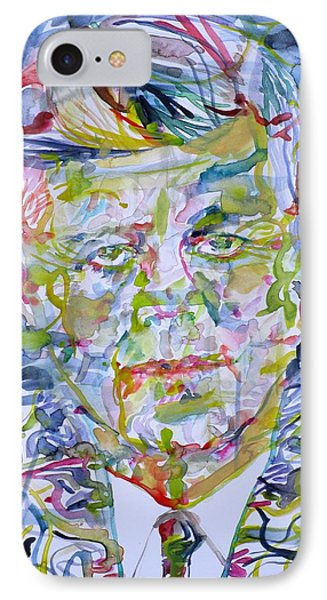 IPhone Case featuring the painting John F. Kennedy - Watercolor Portrait.2 by Fabrizio Cassetta