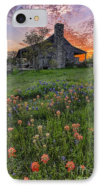 John P Coles Cabin And Spring Wildflowers At Independence - Old Baylor Park Brenham Texas IPhone Case by Silvio Ligutti