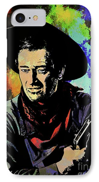 IPhone Case featuring the painting John Wayne, by Andrzej Szczerski