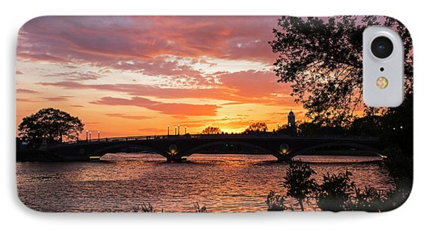 John Weeks Bridge Harvard Square Chales River Sunset Trees IPhone Case by Toby McGuire