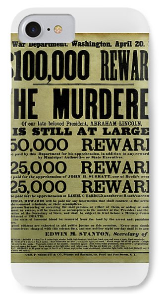 John Wilkes Booth Wanted Poster IPhone 7 Case by War Is Hell Store