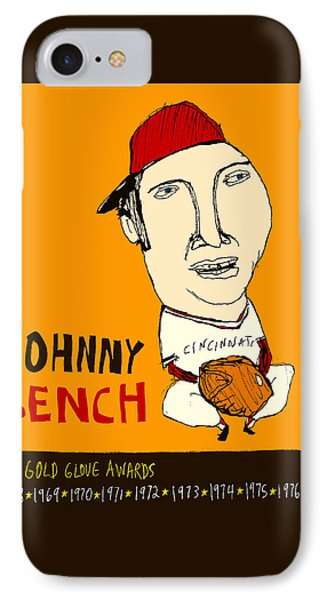 Johnny Bench Cincinnati Reds Phone Case by Jay Perkins