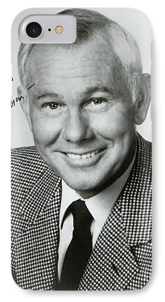 Johnny Carson iPhone 7 Case - Johnny Carson Autographed Print by Pd