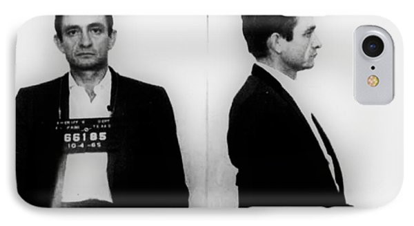 Johnny Cash Mug Shot Horizontal IPhone 7 Case by Tony Rubino