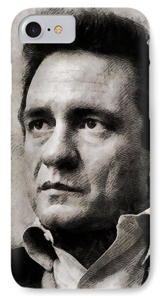 Johnny Cash, Singer IPhone Case by John Springfield