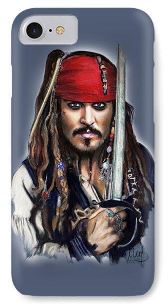 Johnny Depp As Jack Sparrow IPhone 7 Case by Melanie D