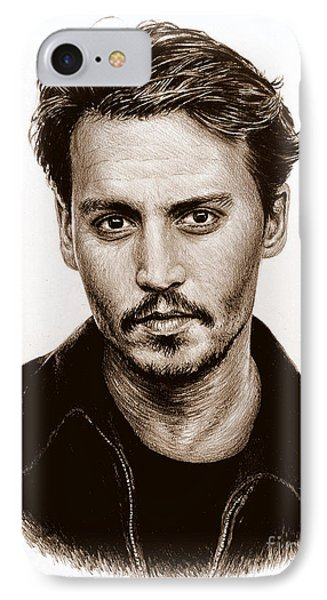 Johnny Depp Sepia IPhone Case by Andrew Read