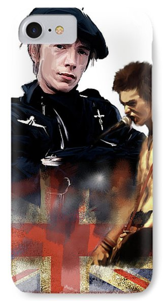 IPhone Case featuring the painting Johnny Rotten And Sid Vicious Revolution In The Head  by Iconic Images Art Gallery David Pucciarelli