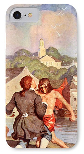 Johnny's Fight With Cherry IPhone Case by Newell Convers Wyeth