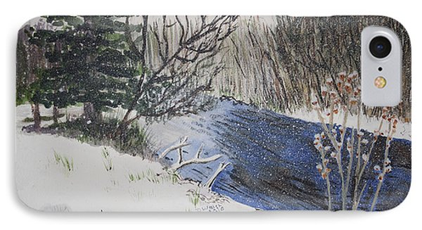 IPhone Case featuring the painting Johnson Vermont In Spring Snow Storm by Donna Walsh