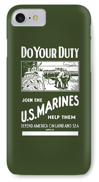 Join The Us Marines IPhone Case by War Is Hell Store