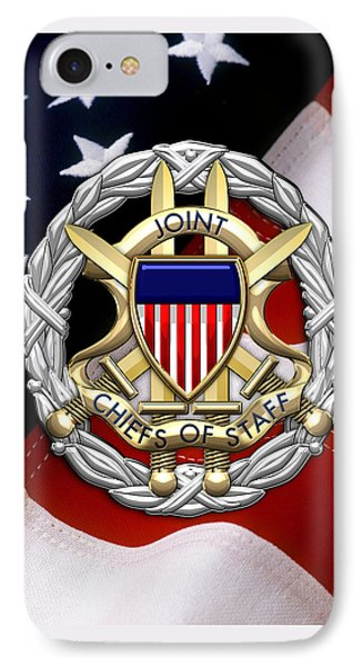 Joint Chiefs Of Staff - J C S Identification Badge Over U. S. Flag IPhone Case by Serge Averbukh