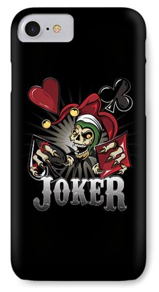IPhone Case featuring the digital art Joker Poker Skull by Raphael Lopez