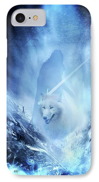 Jon Snow And Ghost - Game Of Thrones IPhone Case by Lilia D
