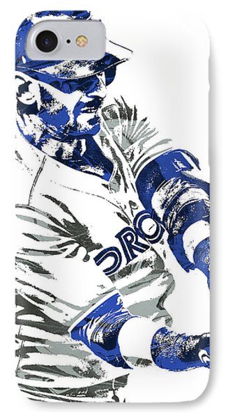 Jose Bautista Toronto Blue Jays Pixel Art IPhone Case by Joe Hamilton