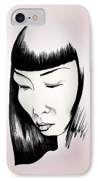 IPhone Case featuring the drawing Josei by Keith A Link