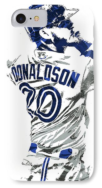 Josh Donaldson Toronto Blue Jays Pixel Art IPhone Case by Joe Hamilton