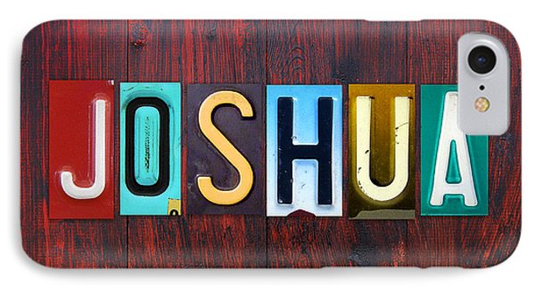 Joshua License Plate Lettering Name Sign Art IPhone Case by Design Turnpike