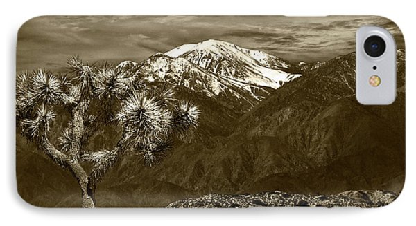IPhone Case featuring the photograph Joshua Tree At Keys View In Sepia Tone by Randall Nyhof