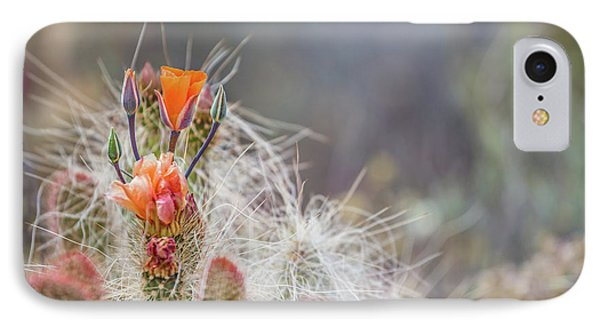 Joshua Tree Cactus And Flower IPhone Case by Peter Tellone