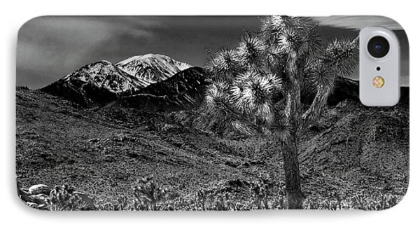 IPhone Case featuring the photograph Joshua Tree In Black And White In Joshua Park National Park With The Little San Bernardino Mountains by Randall Nyhof