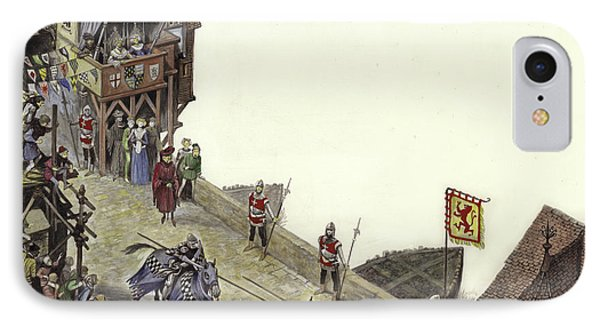 Joust On Old London Bridge On 23 April 1390  IPhone Case by Peter Jackson