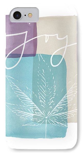 Joy Cannabis Leaf Watercolor- Art By Linda Woods IPhone Case by Linda Woods