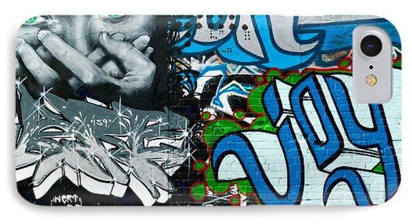IPhone Case featuring the painting Joy Graffiti Wall  by Yurix Sardinelly