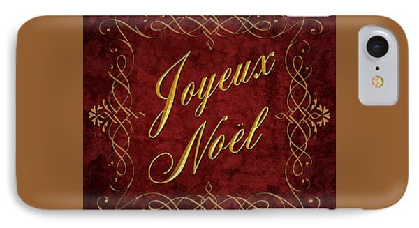 IPhone Case featuring the digital art Joyeux Noel In Red And Gold by Caitlyn  Grasso