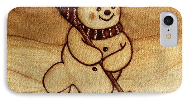 Joyful Snowman  Coffee Paintings Phone Case by Georgeta  Blanaru