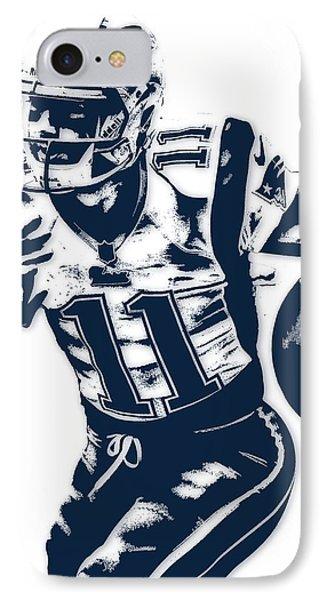 Julian Edelman New England Patriots Pixel Art 2 IPhone Case by Joe Hamilton