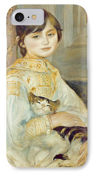 Julie Manet With Cat Phone Case by Pierre Auguste Renoir