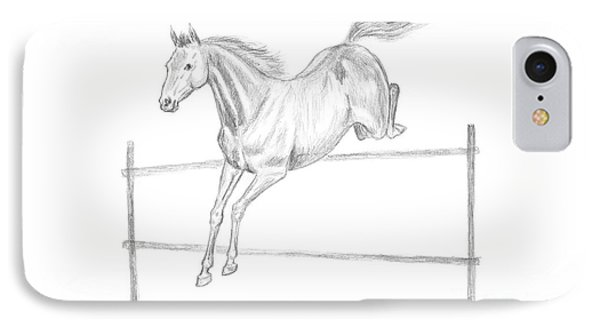 Jumping Horse Drawing IPhone Case