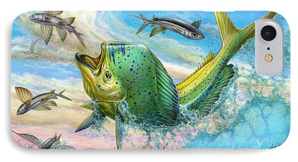 Dolphin iPhone 7 Case - Jumping Mahi Mahi And Flyingfish by Terry Fox