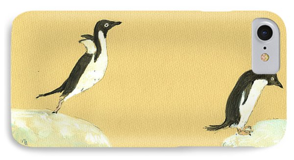 Jumping Penguins IPhone Case by Juan  Bosco