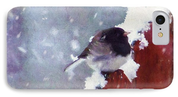 IPhone Case featuring the digital art Junco In The Snow, Square by Christina Lihani